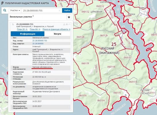 публичная кадастровая карта с информацией о ЗУ